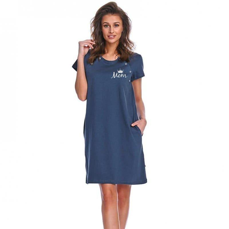 Rozpinana Koszula Nocna na magnesy DOCTOR NAP 9992 DEEP BLUE